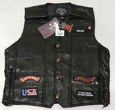 Motorcycle Harley Chopper Patches Eagle Mens XL Black Leather Biker Vest $129
