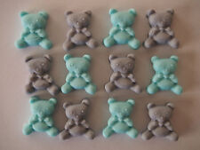 24 edible BABY BOY little bears BABY SHOWER cupcake toppers CHRISTENING cake