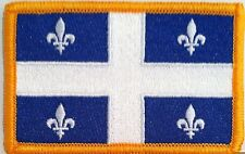 Quebec Canada Flag Iron On Patch Biker Emblem Gold  Border