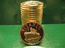 """20 """"Titanic April 15, 1912"""" 1oz .999 Copper rounds 1 Roll in Plastic Tube"""
