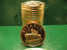 Titanic 1912 1oz .999 Copper 20 beautiful rounds 1 Roll in Plastic Tube