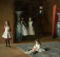 Oil painting John Singer Sargent Young Girl playing together Edward's daughters