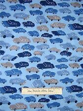 City Fabric - Gray & Blue Modern Cars - Timeless Treasures Cotton YARDS
