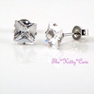 Square Stainless Steel Stud Earrings w/ 7mm Table Cut Swarovski Crystal Elements