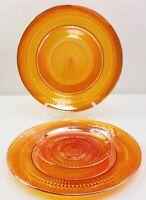 Jeanette Anniversary Marigold Carnival Glass Dinner Plates Saucer Set of 3