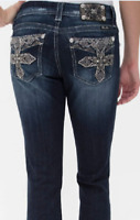 MISS ME boot cut jeans SIZE 32 blue denim stretch mid rise curvy womens