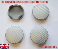 4x 55mm de Fibra de Carbono Plata Centro De Rueda Caps-Ford Fiesta Mondeo Ka Galaxy UK
