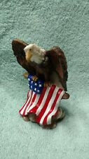 "New 4"" Resin Bald Eagle Figurine with American Us Flag Statue Patiotic"