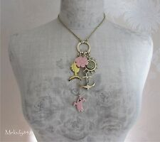 Vintage PILGRIM Necklace Gold/Pink CRAZY Charm Flower Anchor Fish Ghost BNWT