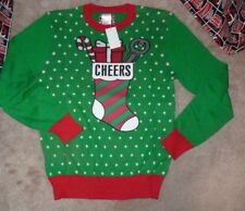 NEW UGLY Christmas Stocking XMAS Holiday Sweater Women Ladies S Small Cheers NWT