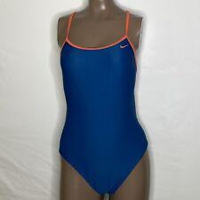 Sz: 34 (8) Nike Tie Back Cut Out Strappy Back Tie Swimsuit Blue/Orange NWOT