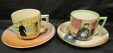 Two Rare Royal Doulton Dickens Ware Cups & Saucers - Sairey Gamp & Mr Micawber