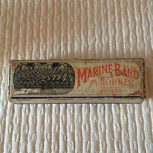 Vintage M Hohner Marine Band Harmonica No. 1896 with Original Box Key G