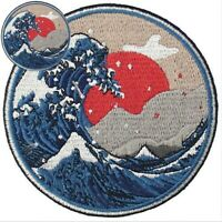 Badge Sew On off Patches transfers applique Wave Patch Iron Embroidered Kanagawa