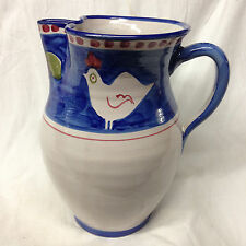 VIETRI ITALY VIE143 PITCHER 70 OZ CHICKEN RED PEAR APPLE BLUE BAND RED DOTS