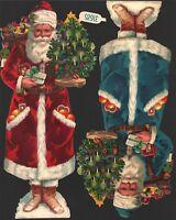 originale Oblatenbilder 2 große geprägte Weihnachtsmänner Z&M - DIE CUT SCRAPS p