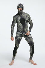 1.5mm Hooded Camo Diving Suit Two Pieces Freediving Fishing Underwater Wetsuit