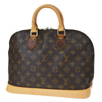 Authentic LOUIS VUITTON LV Alma Hand Bag Monogram Leather Brown M51130 82MD357