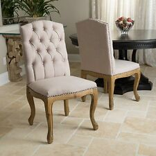 Set Of 2 French Vintage Design Weathered Wood Dining Chairs W/ Nailhead  Accents