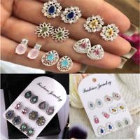 6Pairs Fashion Women Rhinestone Crystal Earrings Drop Jewelry Ear Stud Earrings