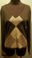 Company Ellen Tracy Petite Charcoal Gray Argyle Silk Cashmere V Neck Sweater M