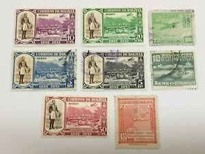 old stamps  BOLIVIA   x  8 air post