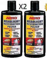 2x ABRO HEADLIGHT RESTORATION POLISH RESTORES CLEANS DULL YELLOW HEADLAMP LENS