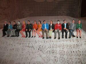 Vintage Dollhouse Miniature People Figures Sitting Lot Hard Rubber Unknown Maker