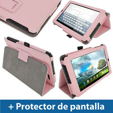 "Rosa Funda Eco-Piel para Asus MeMo Pad ME172V 7"" 3G Android Tablet 16/32GB"