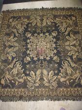 ancien tapis de table textile genre tapisserie décor danse oriental noir 137x137