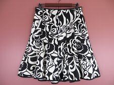 SK12115- ANN TAYLOR Womens Silk Cotton Paneled A-Line Skirt Black White Floral 4