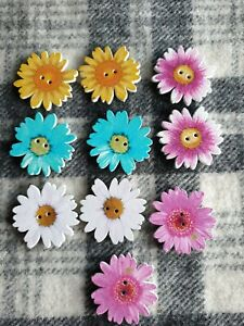 10 extra large mixed flower wooden sewing craft knitting buttons 33mm 2 hole