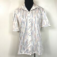 Ecco Bay Vintage 80S White Red Blue Yellow Striped S/S Button Up Top Size Medium