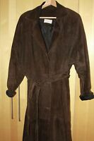 Vintage 1980s, long, dark brown, suede trench coat - size M (14)