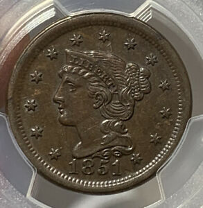 1851 Braided Hair Large Cent PCGS AU55