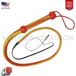Real Cow Hide Leather 4 Feet Long 12 Plait weaving Bull Whip Red & Yellow