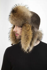 Raccoon and Sheared Beave Fur Aviator Trapper Hatt For a Men's