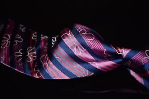 LNWOT Paul Smith Made in Italy Pink Blue Satin Stripe Floral Overlay Silk Tie #3