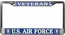 US AIR FORCE VETERAN METAL LICENSE PLATE FRAME - MADE IN THE USA!!