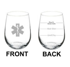 Stemless Wine Glass 17oz 2 Sided Emt Paramedic Star Of Life Mood Fill Lines