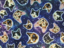 CATS SPACE CAT PLANETS STARS BLUE COTTON FABRIC BTHY