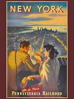 New York City Pennsylvania Railroad United States Travel Advertisement Poster