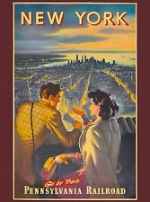 New York City Pennsylvania Railroad United States Travel Advertisement Poster