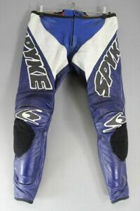 SPYKE LEATHER RACING BIKER TROUSERS WITH CE ARMOUR: WAIST 36 IN/INSIDE LEG 30 IN