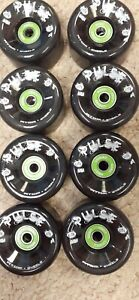Atom Pulse Outdoor 8 Skate Wheels Black 62mm 78a w/ Bionic 8mm ABEC 7 bearings