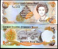 CAYMAN ISLANDS 25 DOLLARS 1996 P 19 PREFIX B/1 QE II UNC