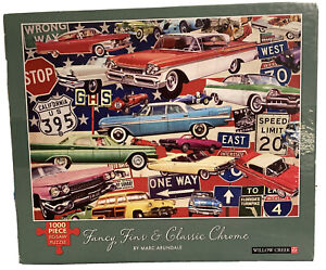 Willow Creek Marc Arundale Fancy Fins Classic Chrome Vintage Cars Puzzle 1000 Pc