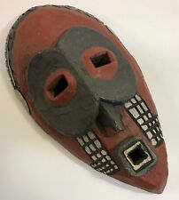 Wood Face Mask Hand Carved 3-D Wall Hanging Decor Unknown Tribe Country