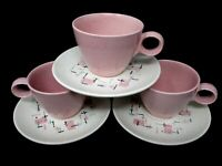 Vintage Vernon Ware TICKLED PINK by Metlox MCM cup and saucer sets mid century