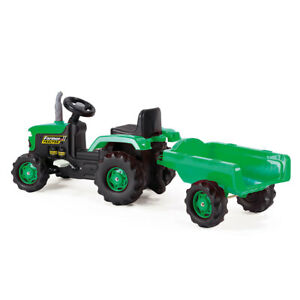 Dolu Pedal Tracter With Detachable Trailer & Horn Feature Outdoor Garden